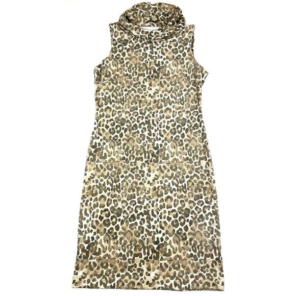 J. McLaughlin Leopard Faux Suede Dress Sz M